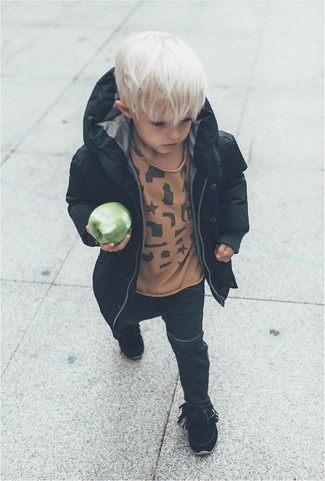 How to Wear Black Jeans For Boys: Go for a black parka and black jeans for your little angel for a fun day out at the playground. Black boots are a savvy choice to complete this look.