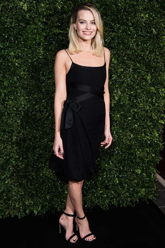 How to wear: black party dress, black leather heeled sandals