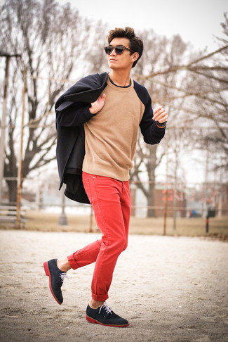 Red Jeans Outfits For Men: For an outfit that's worthy of a modern sartorially savvy man and casually smart, try pairing a black pea coat with red jeans. Bring an elegant twist to this getup by finishing with navy suede derby shoes.