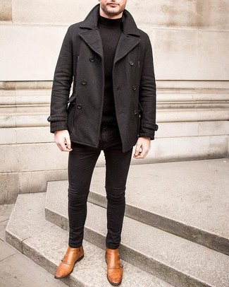 How to Wear a Black Turtleneck For Men: Dress in a black turtleneck and black chinos and you'll look boss. Tan leather double monks are a surefire way to bring a dose of sophistication to this outfit.