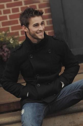 Men's Black Pea Coat, Blue Jeans