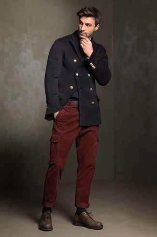 Reach for a black pea coat and oxblood cargo pants to create a smart casual  look