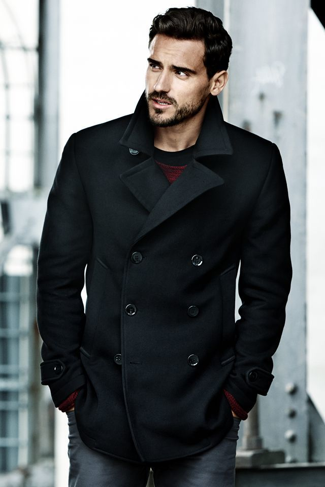 Black Pea Coat | Men's Fashion