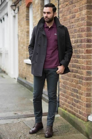 How to Wear a Black Pea Coat: This ensemble clearly shows it pays to invest in such menswear pieces as a black pea coat and charcoal chinos. This ensemble is complemented perfectly with dark brown leather casual boots.