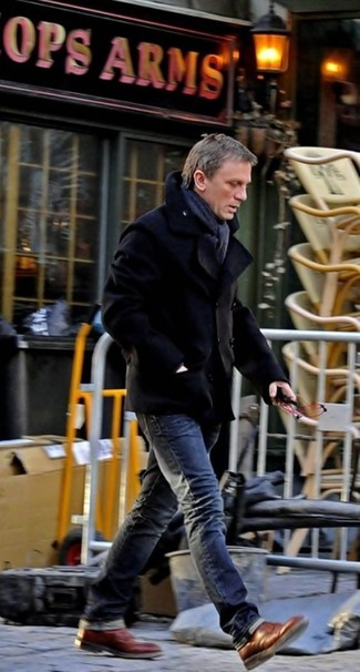 Daniel Craig wearing Black Pea Coat, Charcoal Jeans, Brown Leather Brogue Boots, Charcoal Scarf