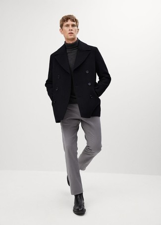 Pea Coat Outfits: When the dress code calls for an effortlessly stylish outfit, rock a pea coat with grey chinos. Introduce black leather chelsea boots to this ensemble to change things up a bit.