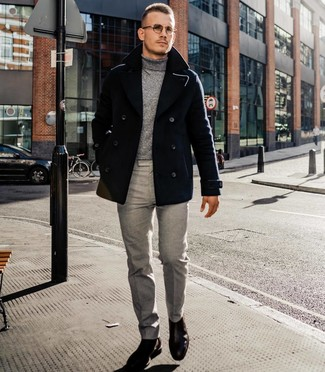 How to wear: black pea coat, grey turtleneck, grey dress pants, dark brown leather chelsea boots