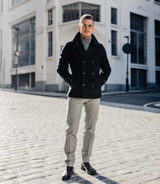 How to wear: black pea coat, grey turtleneck, grey wool dress pants, black leather chelsea boots
