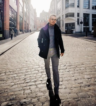 How to wear: black pea coat, grey wool turtleneck, grey wool dress pants, black leather chelsea boots