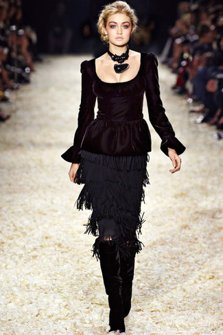 How to wear: black peplum top, black fringe pencil skirt, black velvet knee high boots, black necklace