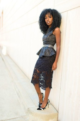 How to wear: black leather peplum top, black lace pencil skirt, white and black suede pumps, black embellished waist belt
