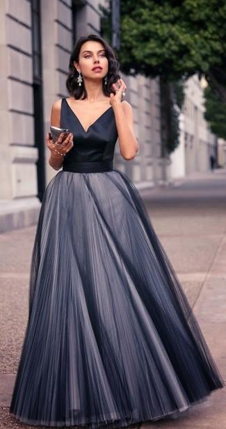 How to wear: black pleated chiffon evening dress, silver earrings