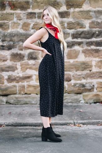 How to wear: black polka dot jumpsuit, black suede ankle boots, red bandana