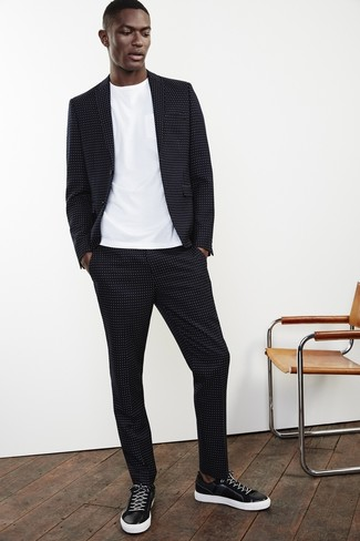 Men's Black Polka Dot Suit, White Crew-neck T-shirt, Black and White Leather Low Top Sneakers