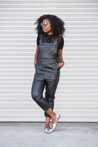 How to wear: black polo, black leather overalls, silver leather loafers, grey sunglasses