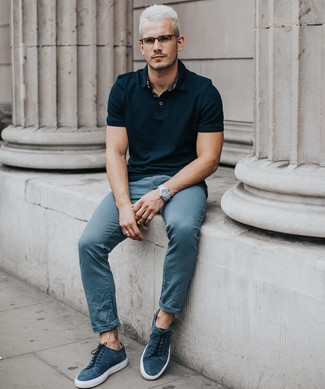 How to wear: black polo, blue chinos, navy suede low top sneakers, silver watch