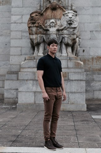 Black Polo Outfits For Men: Pairing a black polo with brown jeans is a great option for a cool and casual look. Add a pair of dark brown leather casual boots to the mix for an instant style lift.