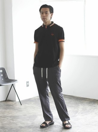 Black Polo Outfits For Men: You'll be amazed at how easy it is for any gentleman to get dressed this way. Just a black polo and charcoal chinos. To infuse a more relaxed spin into your getup, grab a pair of black canvas sandals.