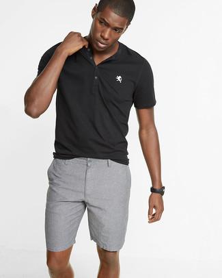 grey and black polo shirt