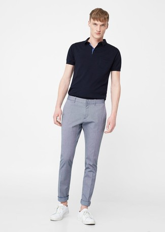 How to wear: black polo, light blue dress pants, white leather low top sneakers