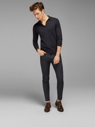 Black Polo Neck Sweater Outfits For Men: If the occasion calls for a polished yet kick-ass look, go for a black polo neck sweater and charcoal jeans. For a more elegant aesthetic, why not introduce a pair of dark brown leather derby shoes to the mix?