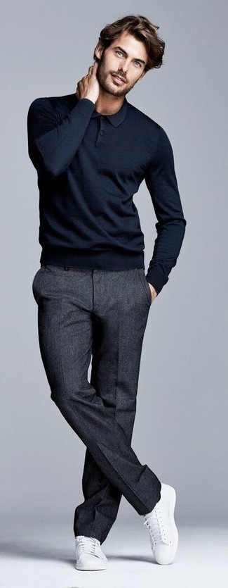 How to wear: black polo neck sweater, charcoal wool dress pants, white canvas low top sneakers
