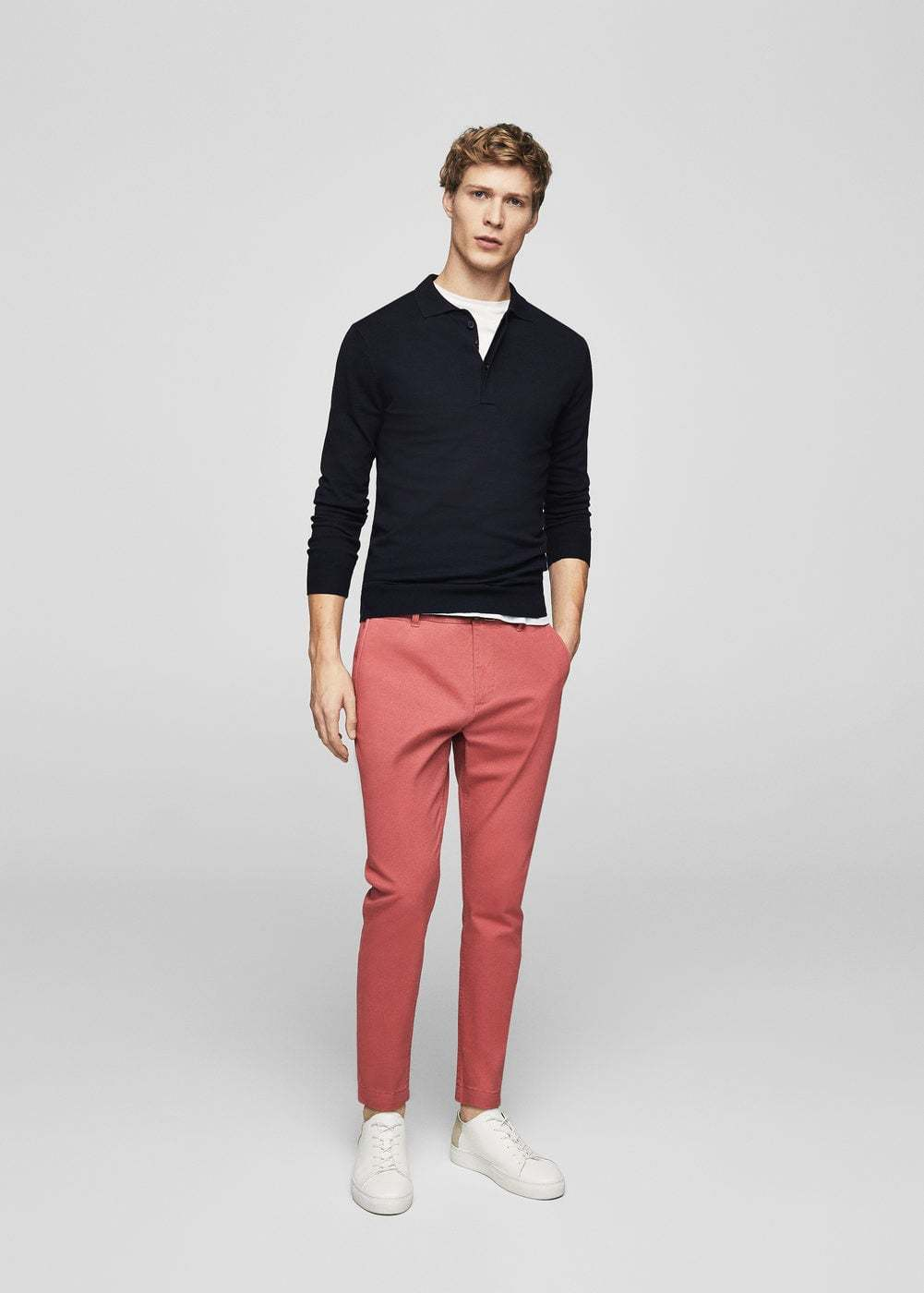 Mens Black Polo Neck Sweater White Crew Neck T Shirt Pink Chinos