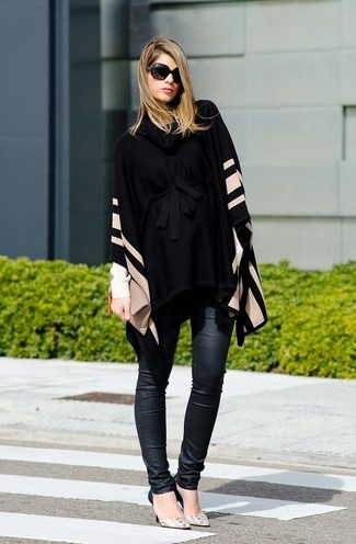 If it's comfort and practicality that you're seeking in an outfit, dress in a black horizontal striped poncho and black leather skinny jeans. You could perhaps get a little creative when it comes to footwear and lift up your getup with Diane von Furstenberg Michelle. Rest assured, this combo will keep you comfortable as well as looking seriously stylish in this transitional weather.
