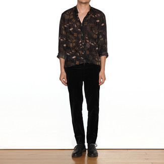 Black Corduroy Chinos Outfits: Marry a black print long sleeve shirt with black corduroy chinos for both seriously stylish and easy-to-create look. A trendy pair of black leather derby shoes is a simple way to infuse an extra dose of elegance into your look.