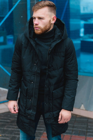 How to wear: black puffer coat, black turtleneck, blue jeans