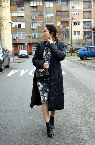 How to wear: black puffer coat, dark green floral sheath dress, black leather ankle boots, black floral leather crossbody bag