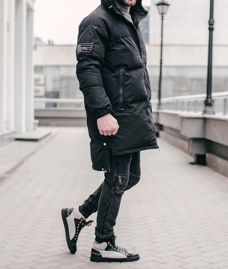 How to wear: black puffer coat, grey turtleneck, black jeans, black and white leather high top sneakers