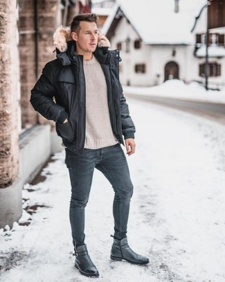 How to Wear Charcoal Skinny Jeans For Men: A black puffer jacket and charcoal skinny jeans work together smoothly. To add a little depth to your ensemble, add black leather chelsea boots to the equation.