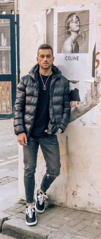 How to wear: black puffer jacket, black crew-neck t-shirt, charcoal ripped jeans, black and white high top sneakers