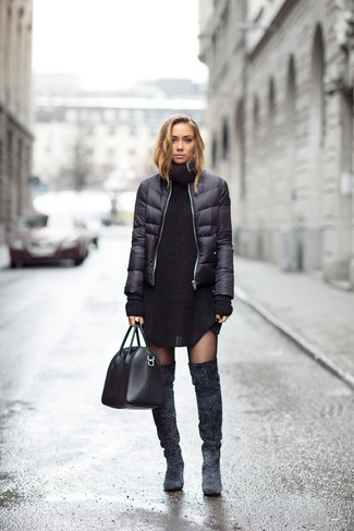 How to wear: black puffer jacket, black knit sweater dress, charcoal suede over the knee boots, black leather tote bag