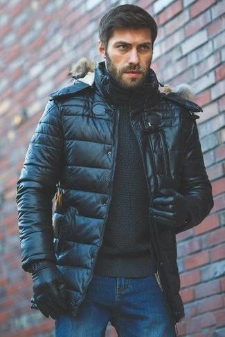 How to wear: black puffer jacket, black turtleneck, blue jeans, black leather gloves