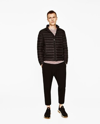 How to wear: black puffer jacket, white and red horizontal striped long sleeve t-shirt, black sweatpants, black suede low top sneakers