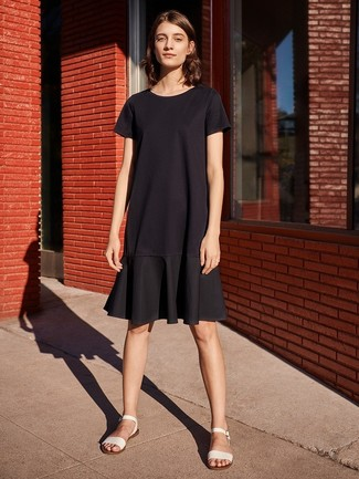 How to wear: black ruffle casual dress, white leather flat sandals