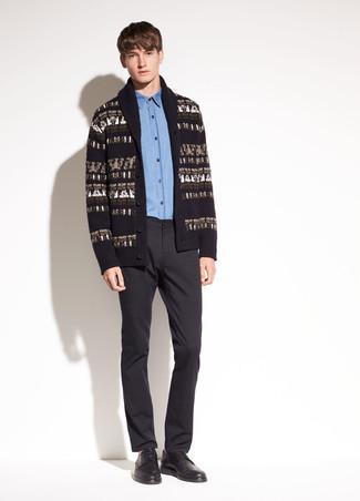 How to wear: black print shawl cardigan, blue chambray dress shirt, black dress pants, black leather derby shoes