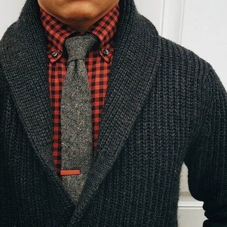 How to Wear a Black Shawl Cardigan For Men: This semi-casual combination of a black shawl cardigan and a red gingham dress shirt is extremely easy to pull together in next to no time, helping you look on-trend and ready for anything without spending too much time combing through your wardrobe.