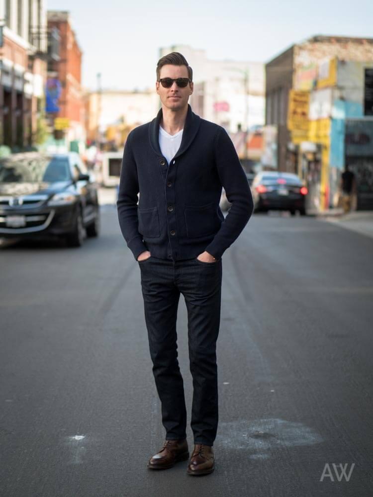4a50d9af4c392 How to wear: black shawl cardigan, white v-neck t-shirt, White V-neck  T-shirt Black Shawl Cardigan Black Jeans Dark Brown Leather Derby Shoes