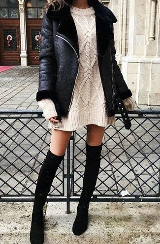 How to wear: black shearling jacket, beige sweater dress, black suede over the knee boots