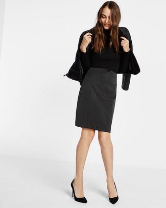 How to wear: black shearling jacket, black turtleneck, charcoal pencil skirt, black suede pumps