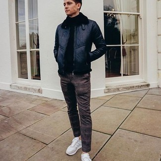 Shearling Jacket Outfits For Men: Marrying a shearling jacket with dark brown plaid chinos is a great pick for a relaxed casual look. Rounding off with a pair of white athletic shoes is a surefire way to bring a playful touch to your outfit.