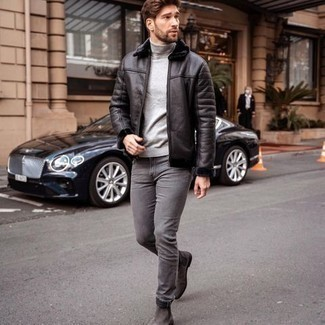 Men's Outfits 2020: This pairing of a black shearling jacket and grey jeans is hard proof that a straightforward off-duty getup doesn't have to be boring. Finishing off with charcoal suede chelsea boots is a simple way to infuse a hint of elegance into your look.