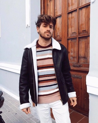 How to wear: black shearling jacket, multi colored horizontal striped crew-neck sweater, white chinos