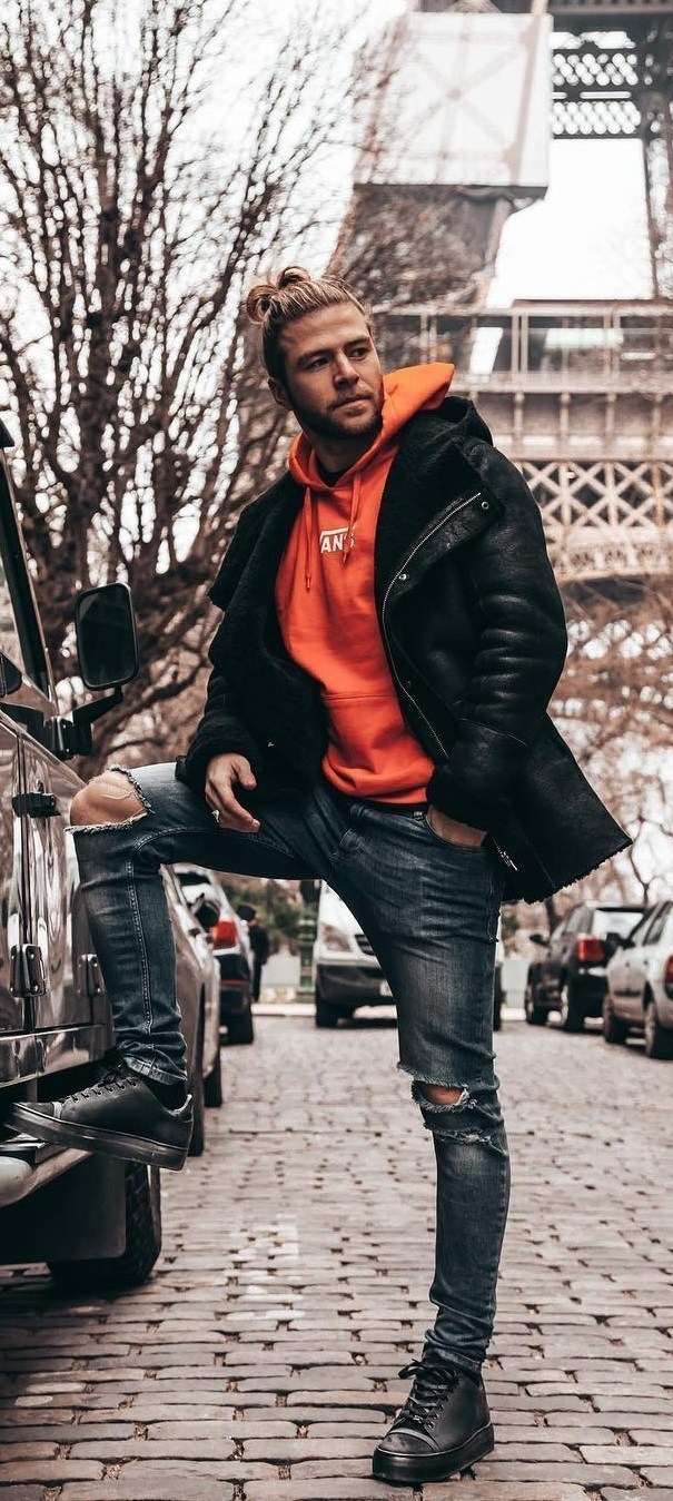 Men's Black Shearling Jacket, Orange Hoodie, Navy Ripped