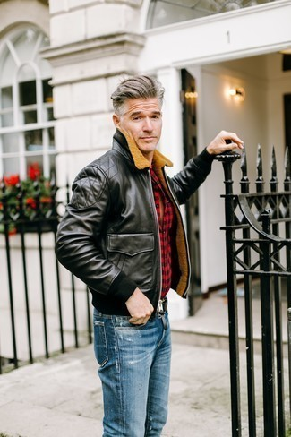 How to Wear a Black Shearling Jacket For Men: Reach for a black shearling jacket and blue ripped jeans if you're in search of an outfit option that conveys casual street style style.