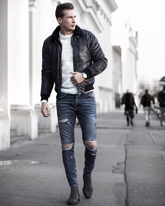 How to wear: black shearling jacket, white cable sweater, charcoal ripped skinny jeans, charcoal suede chelsea boots