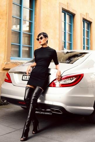 Women's Black Sheath Dress, Black Leather Over The Knee Boots, Black Sunglasses